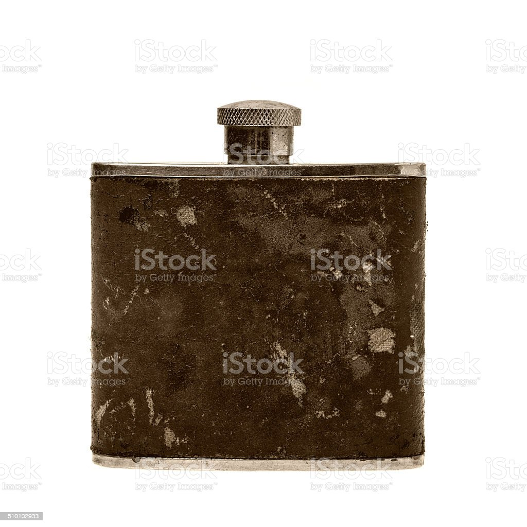 Dirty old flat steel bottles stock photo