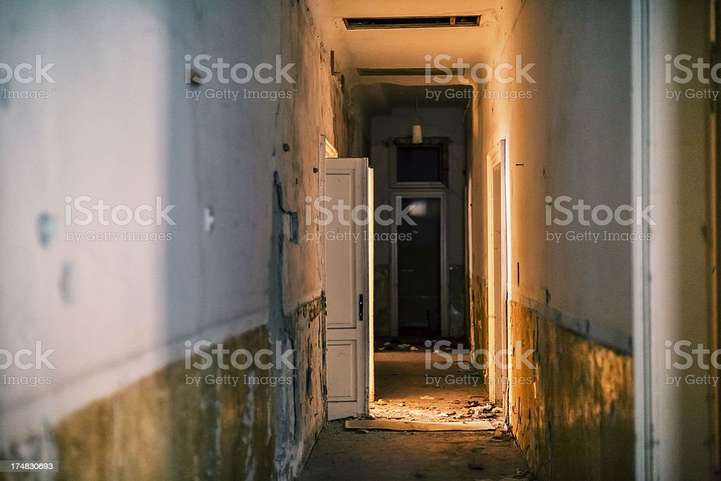 Dirty old hallway in abandoned European villa royalty-free stock photo