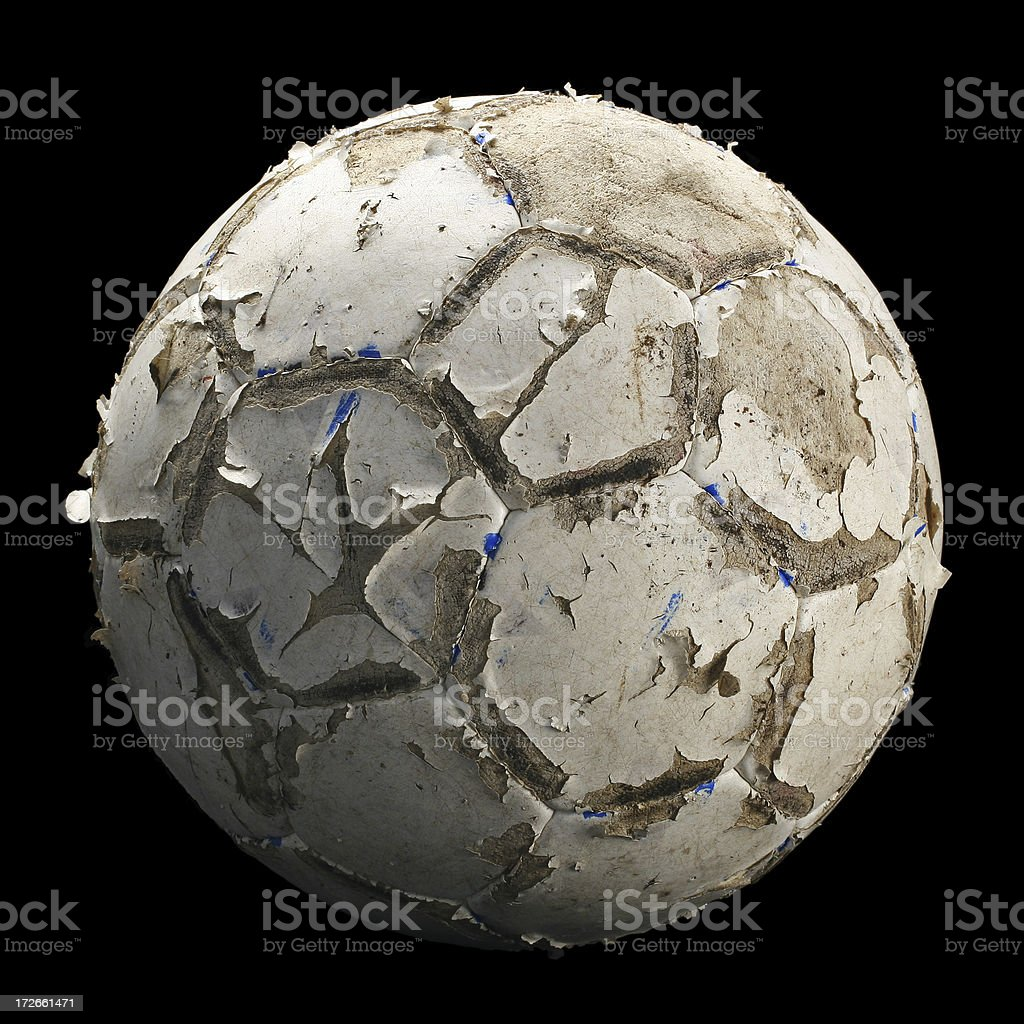 Dirty Old Soccer Ball royalty-free stock photo