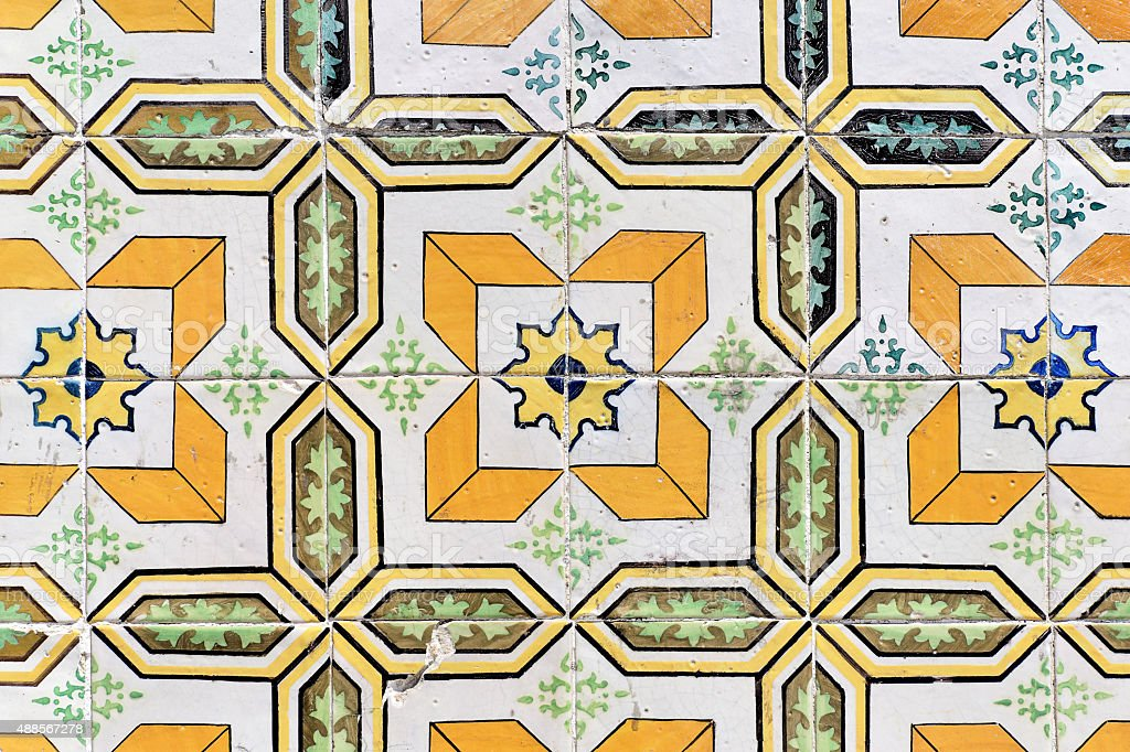 Dirty old traditionell tiles in Lisbon stock photo