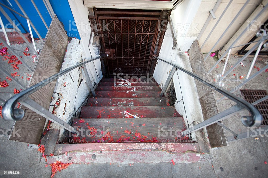 Dirty Ominous Steps Leading to Basement stock photo