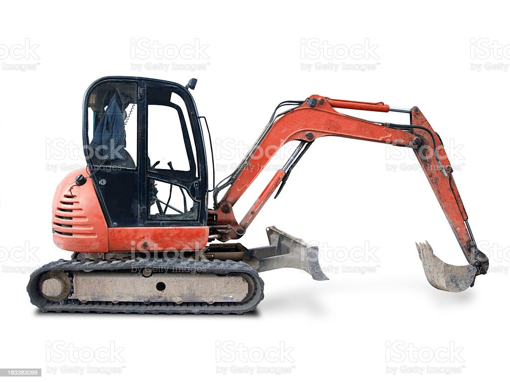 Dirty orange digger on a white background stock photo