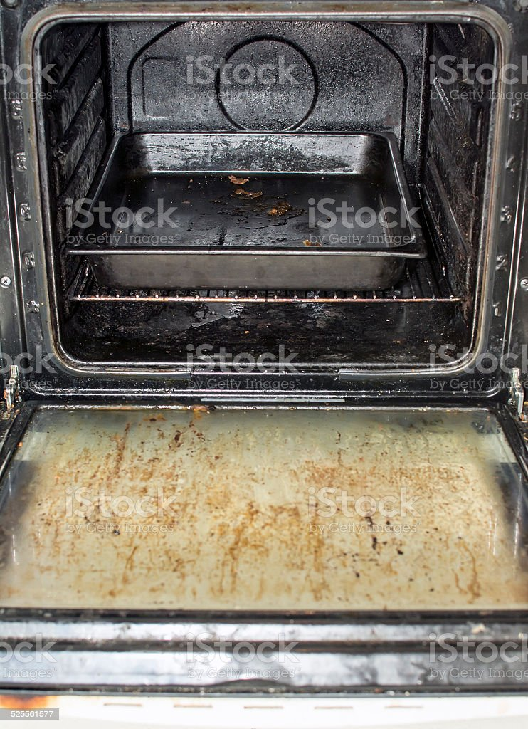 Dirty oven stock photo