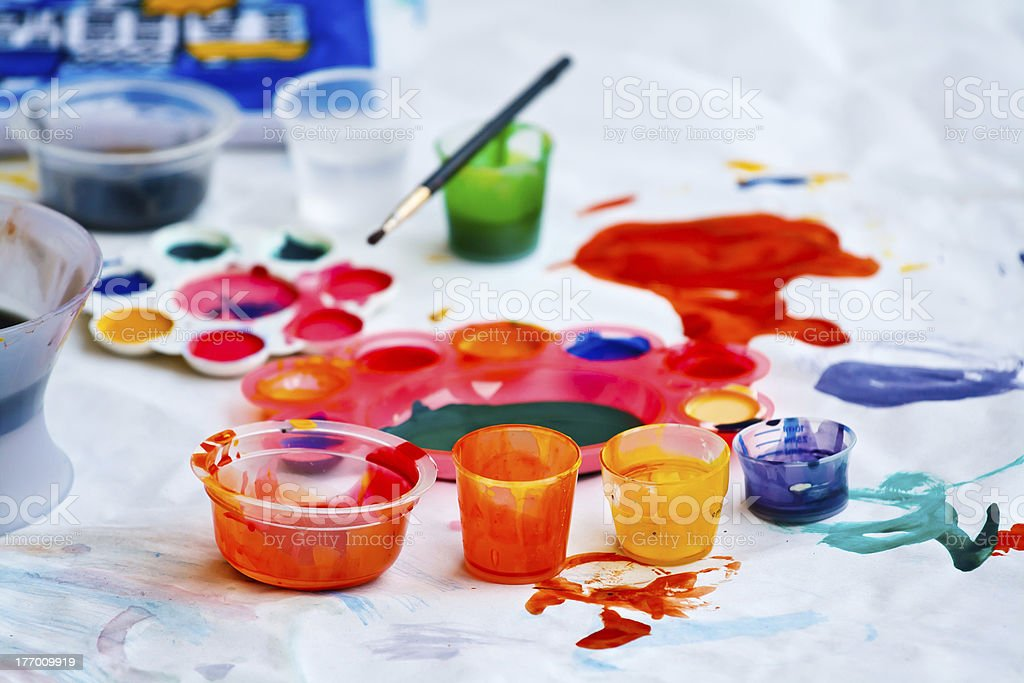 Dirty paint after kids played royalty-free stock photo