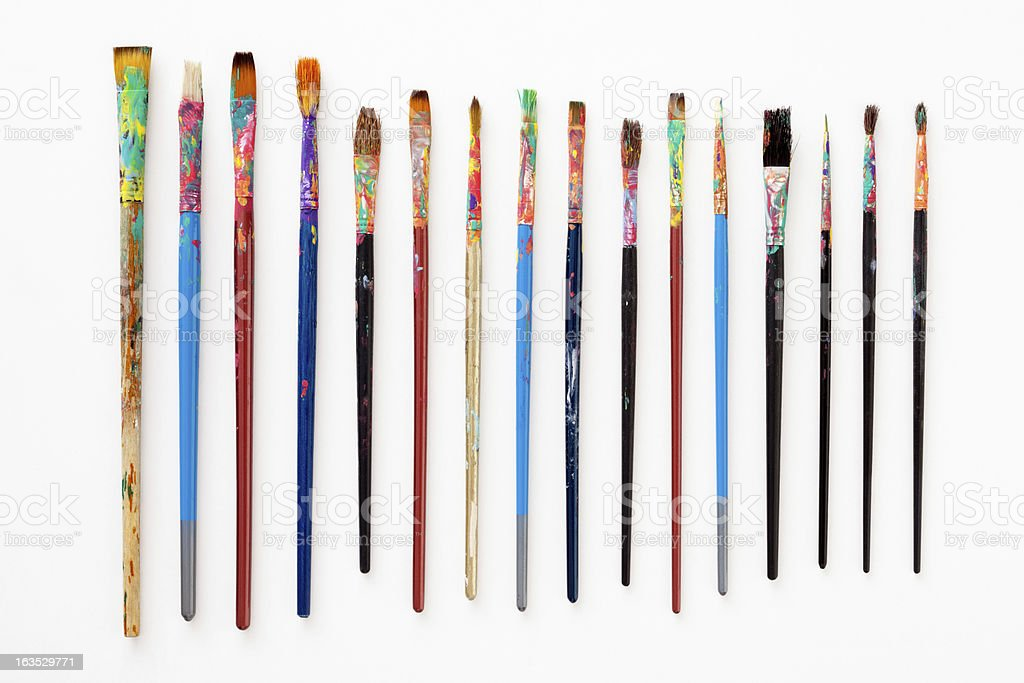 Dirty paintbrushes stock photo