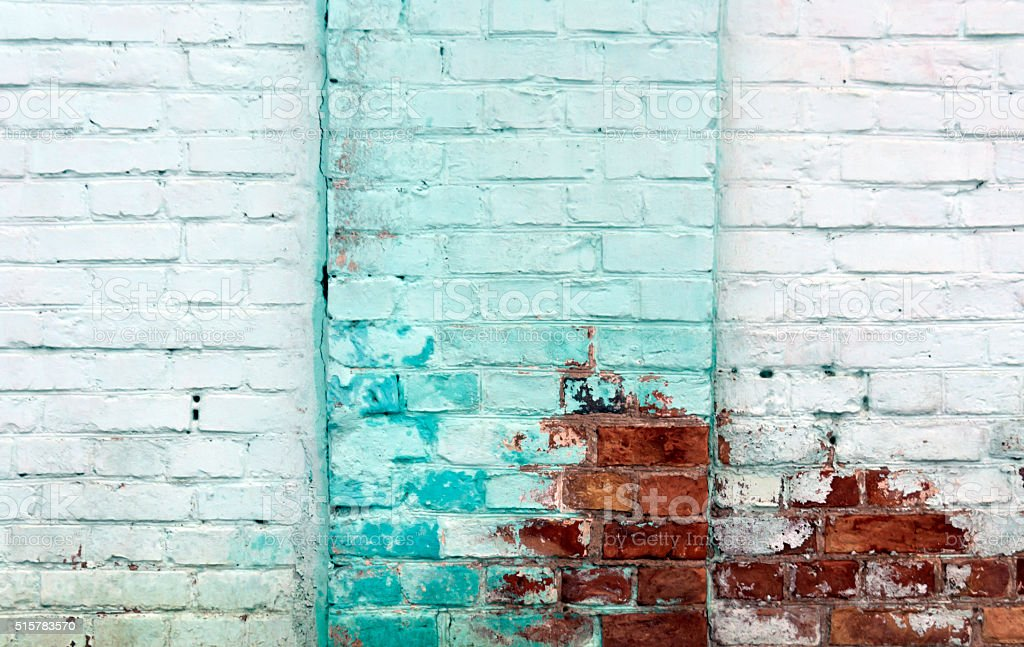 Dirty painted brick wall texture. stock photo