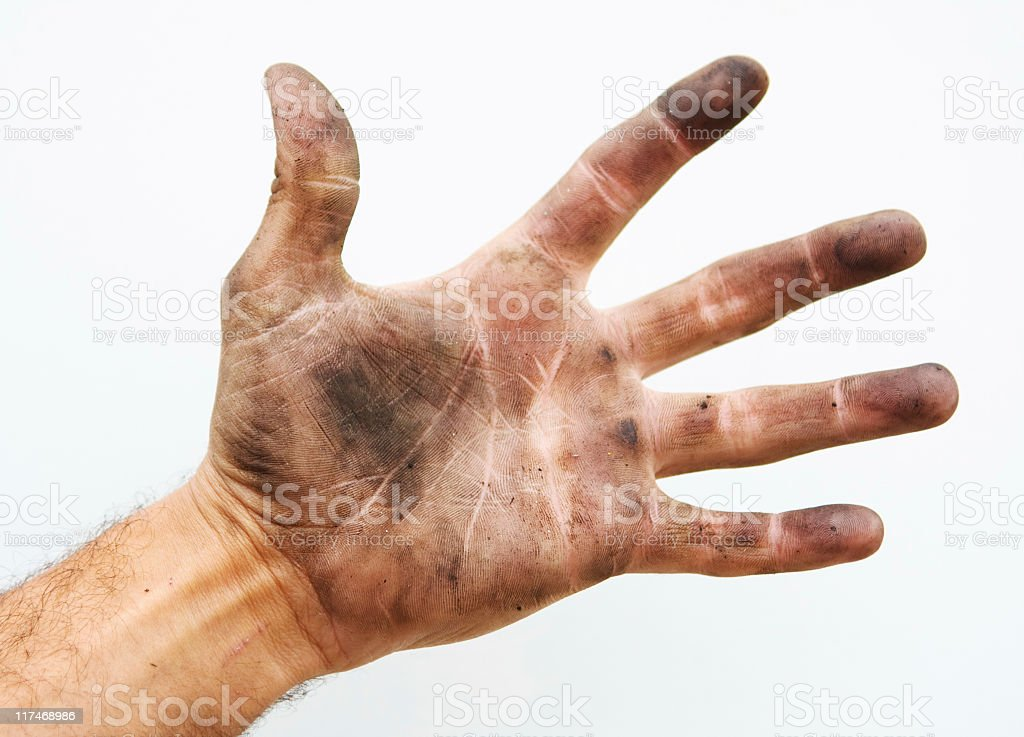 Dirty palm of hand. stock photo