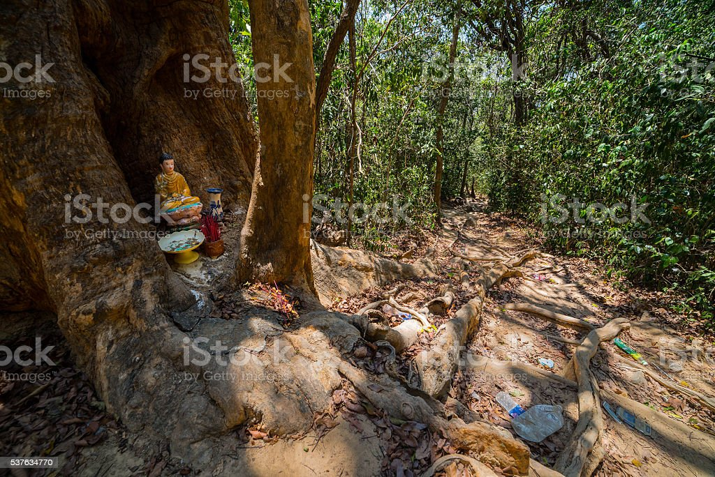 Dirty path and small temple in the jungle. stock photo