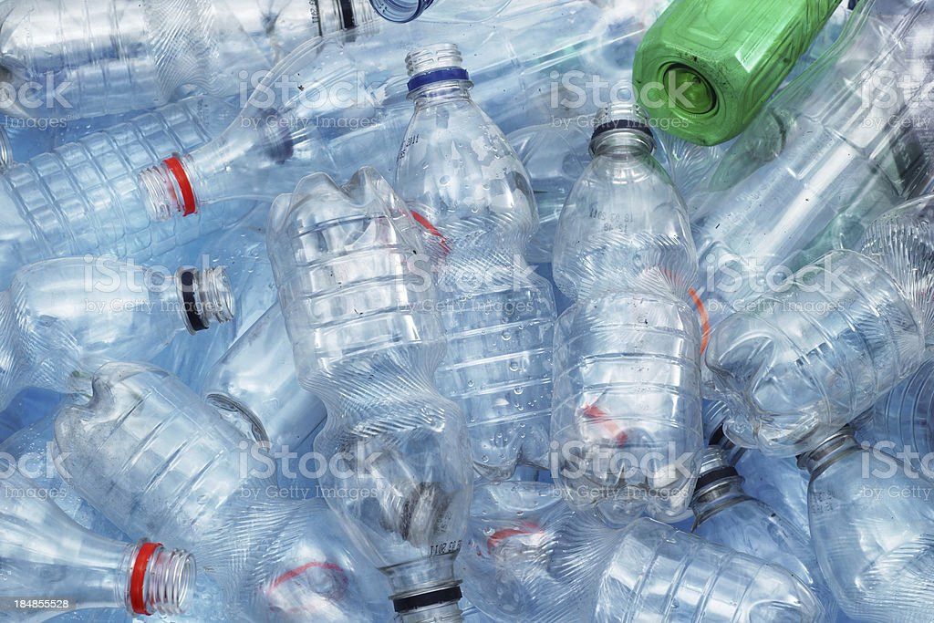 Dirty plastic bottles stock photo
