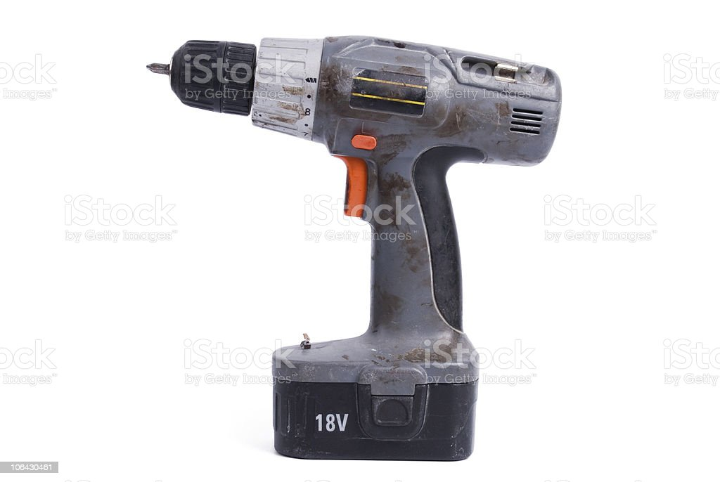 Dirty power drill #2 stock photo