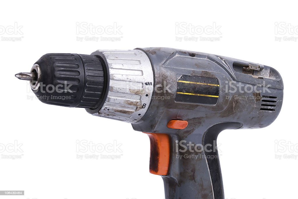 Dirty power drill royalty-free stock photo