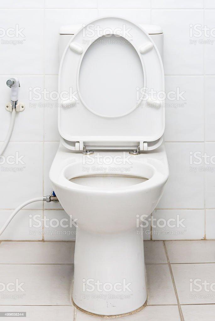 Dirty public toilet stock photo