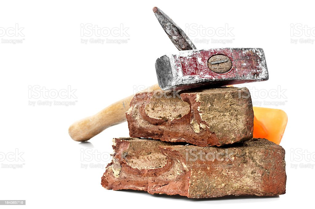 Dirty Red Brick, Hammer and Chisel royalty-free stock photo
