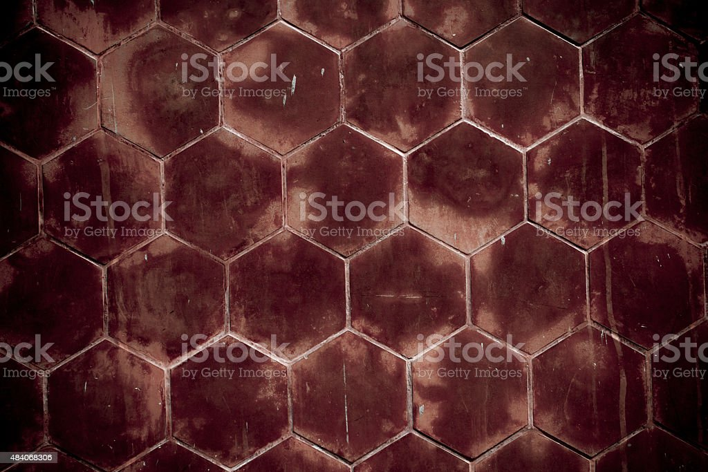 Dirty red wall with Hexagonal shape royalty-free stock photo