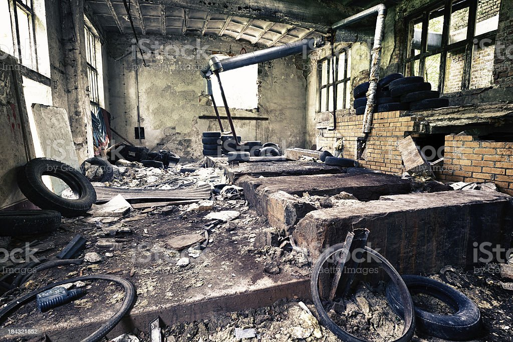 Dirty room in abandoned old ruined building royalty-free stock photo