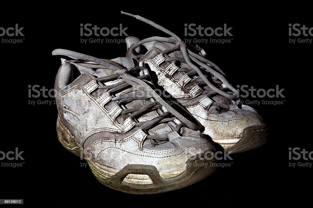 Dirty running shoes royalty-free stock photo