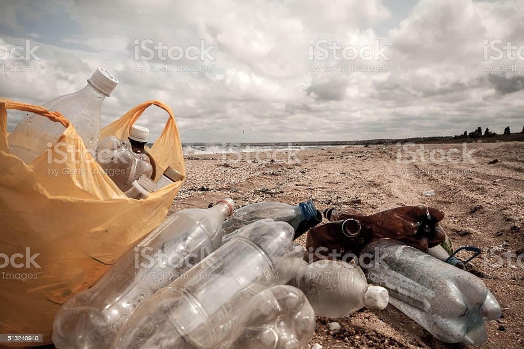 Dirty sea beach stock photo