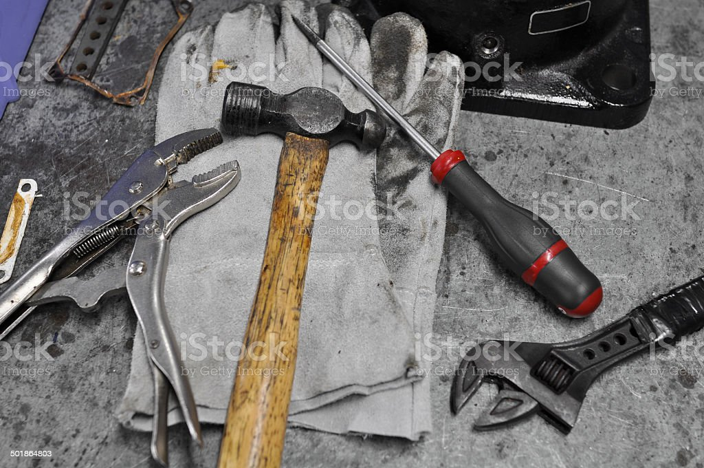 Dirty set of hand tools on table royalty-free stock photo