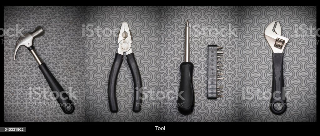 Dirty set of hand tools stock photo