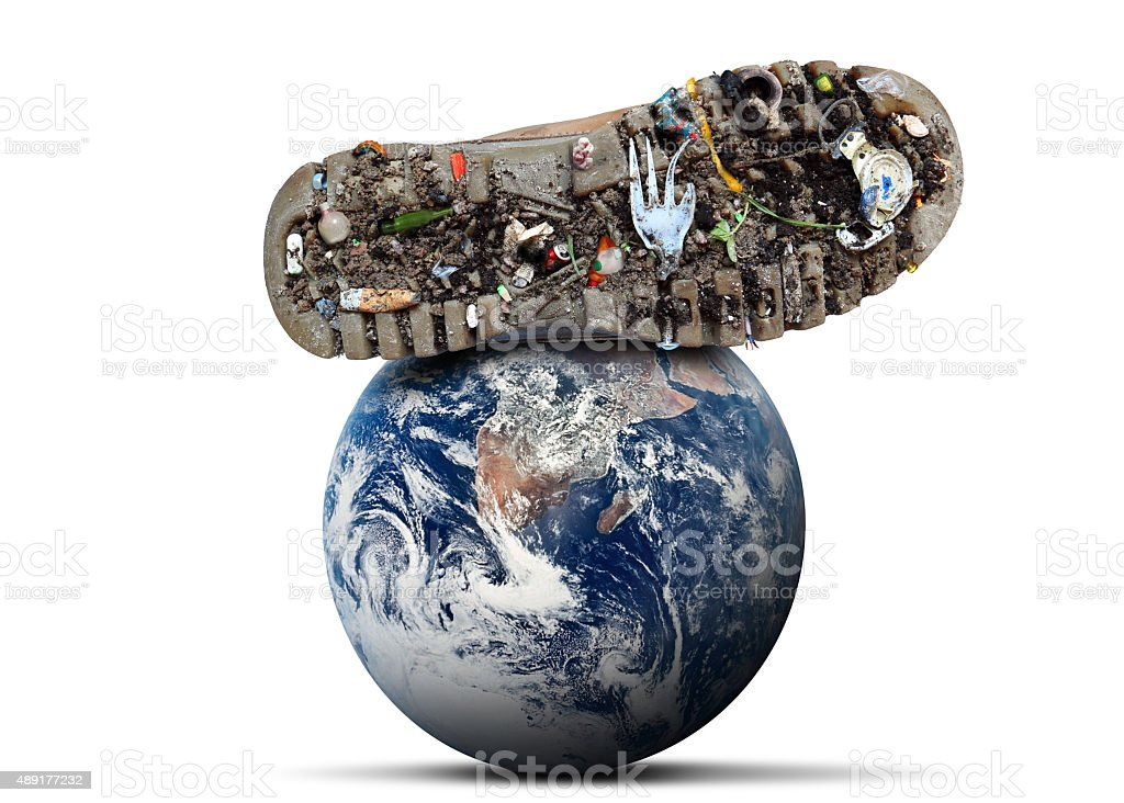 Dirty shoes is on planet stock photo