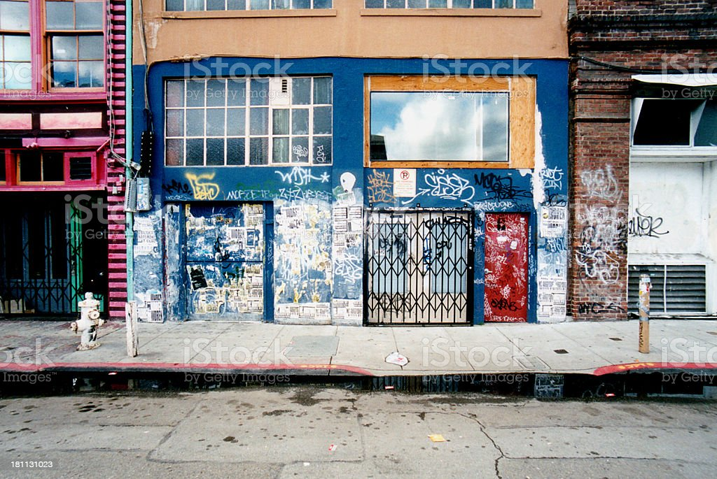 Dirty Side Street Store Front royalty-free stock photo