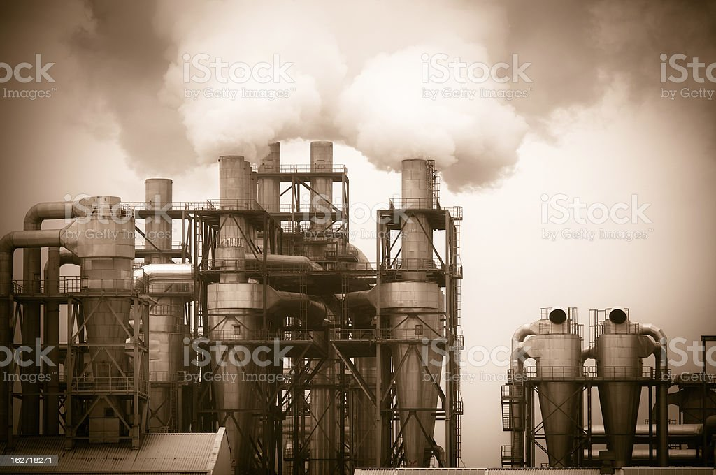 dirty smoke and pollution produced by factory royalty-free stock photo