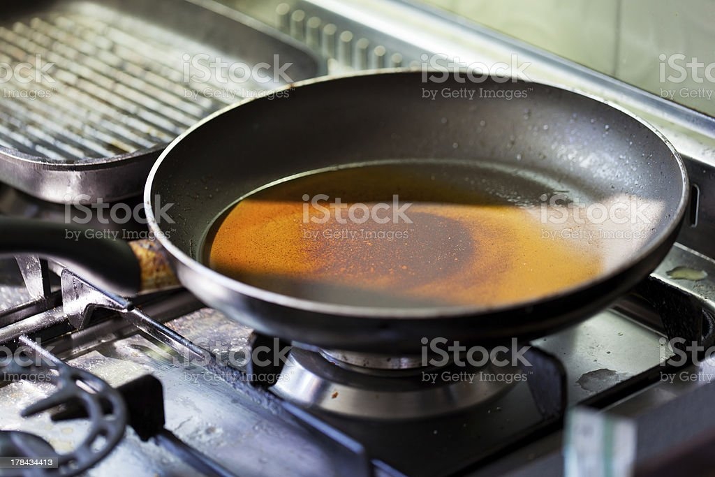 Dirty stove with a dirty frying pan stock photo