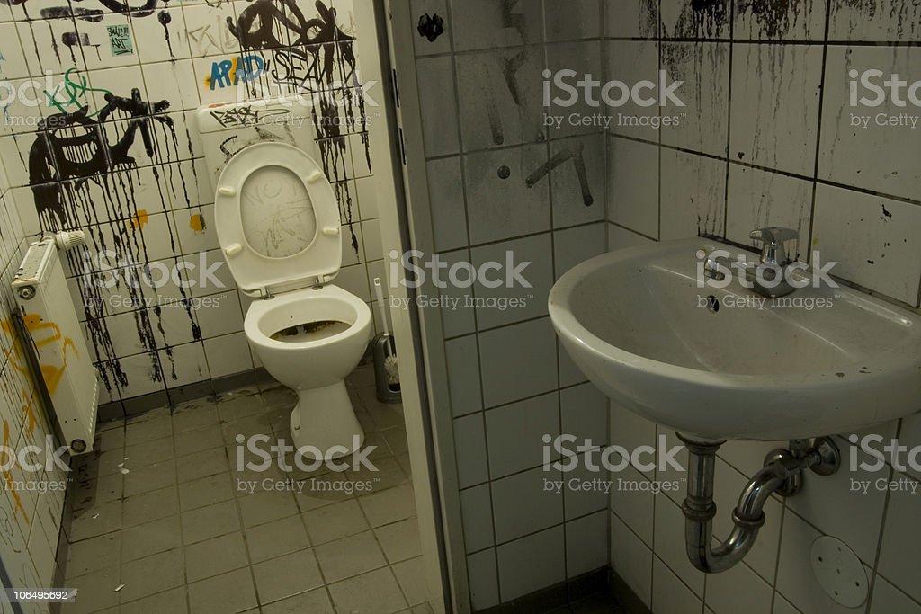 Dirty Toilet in Berlin stock photo
