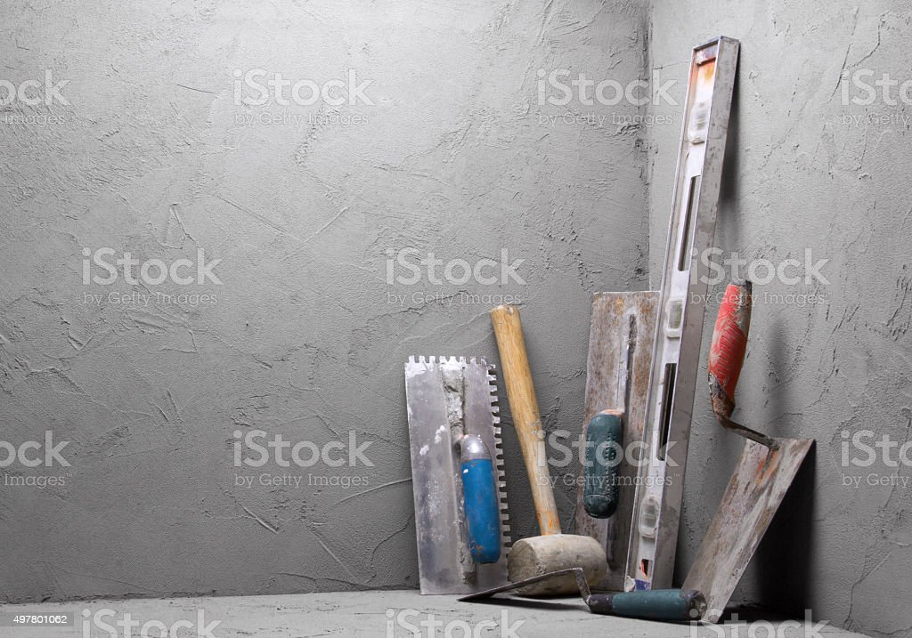 Dirty tools trowel stock photo