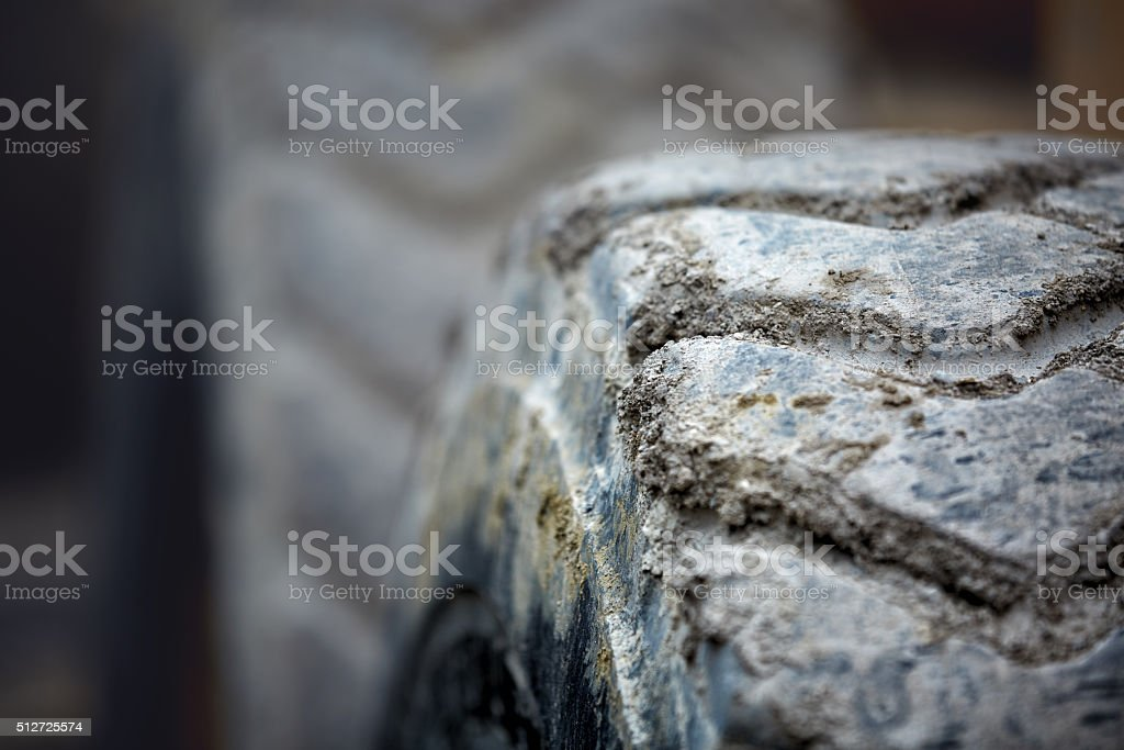 Dirty truck tire stock photo