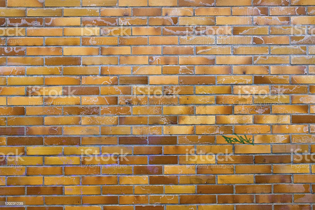 Dirty wall of clinker bricks stock photo
