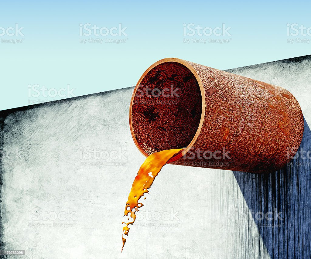 dirty water stems from the rusty pipe in concrete wall stock photo