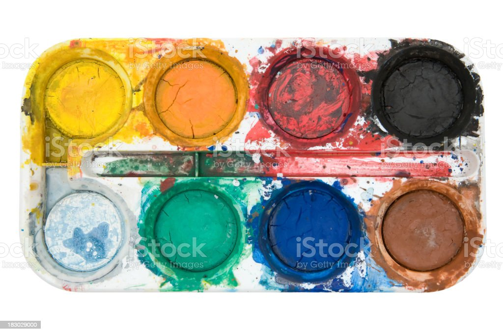 Dirty Watercolors (Clipping Path Included) royalty-free stock photo