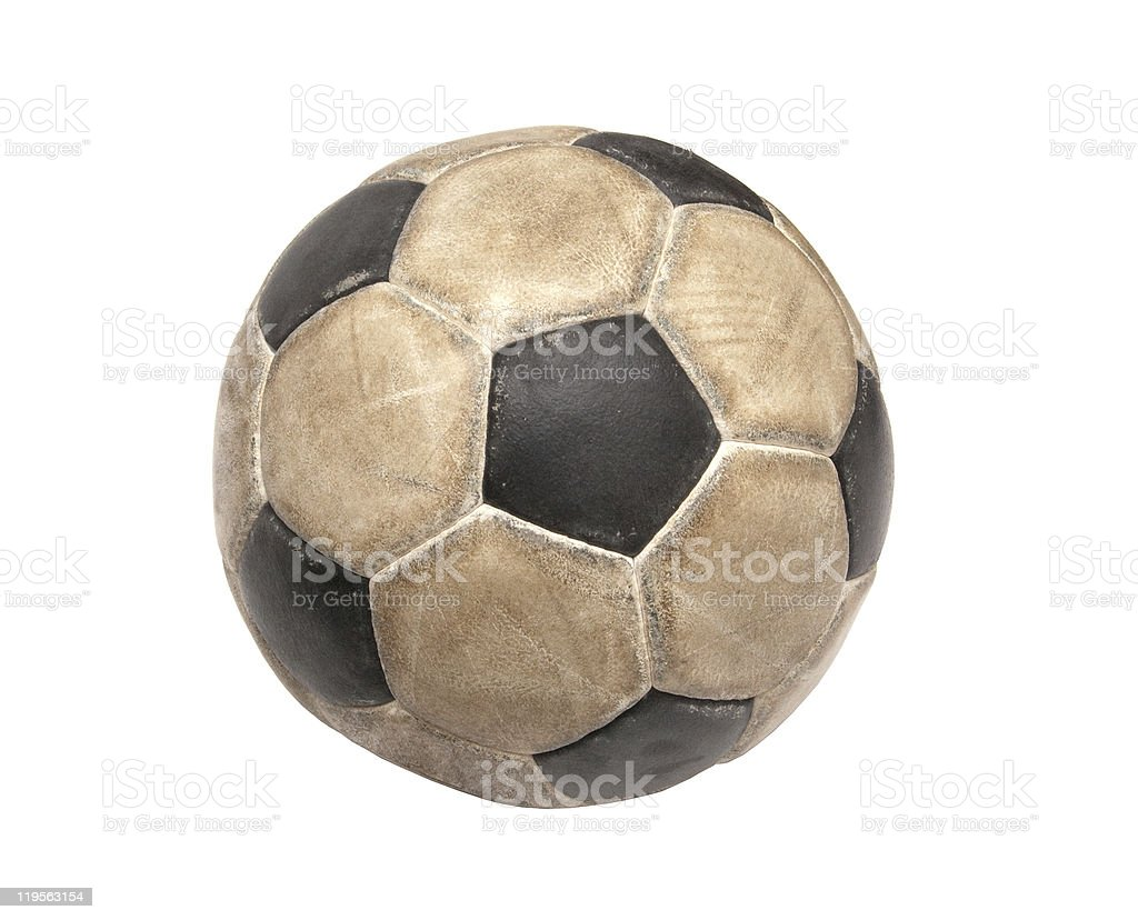 Dirty white and black soccer ball on white background royalty-free stock photo