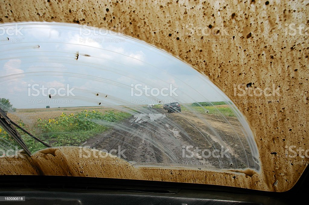 Dirty  windshield of a car stock photo