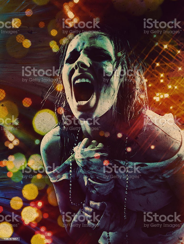 Dirty Young Woman Shouting royalty-free stock photo