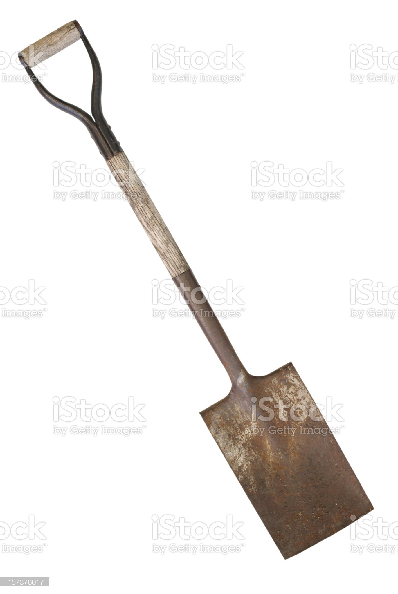 dirty,rusty, weathered spade-CLIPPING PATH royalty-free stock photo