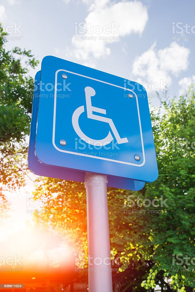 Disability Car Park, Parking for disability persons. stock photo