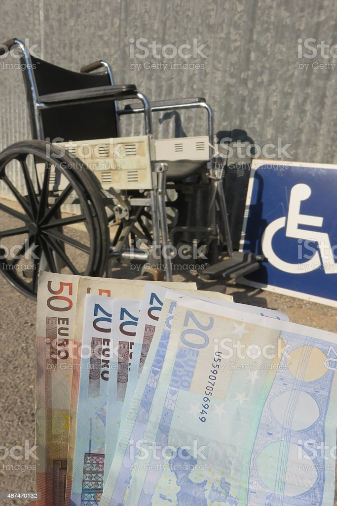 disability pension Concept stock photo