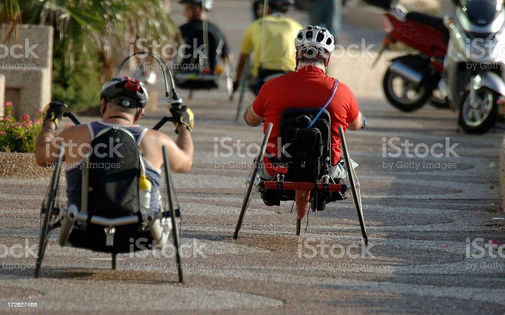 Disable men ridding Handcycles in Tel-Aviv Israel stock photo