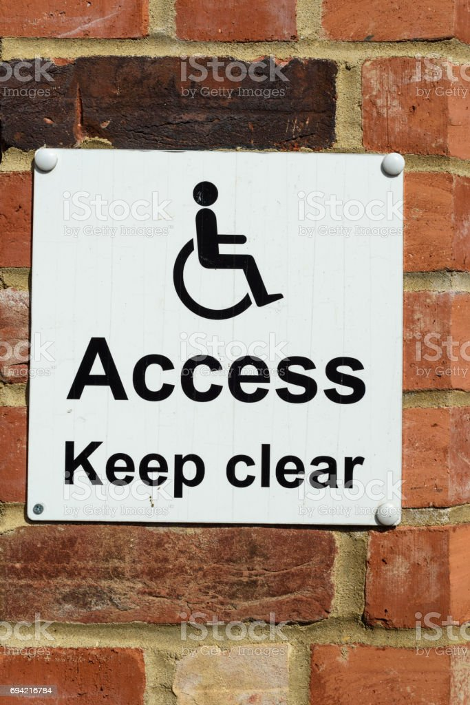 Disabled Access Keep Clear Sign stock photo