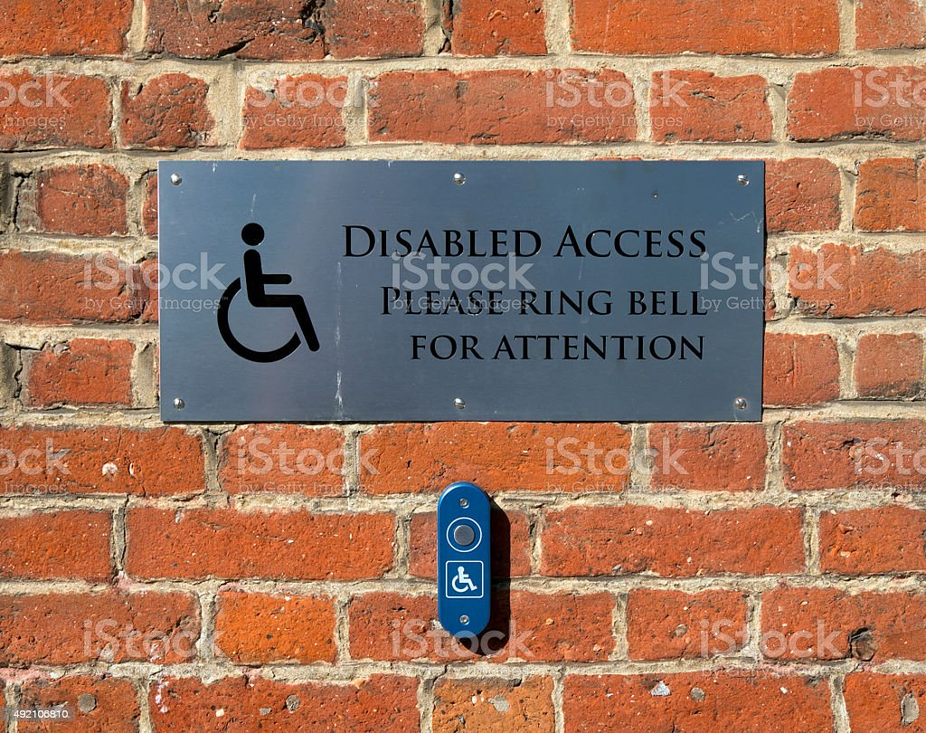 Disabled access sign with bell stock photo
