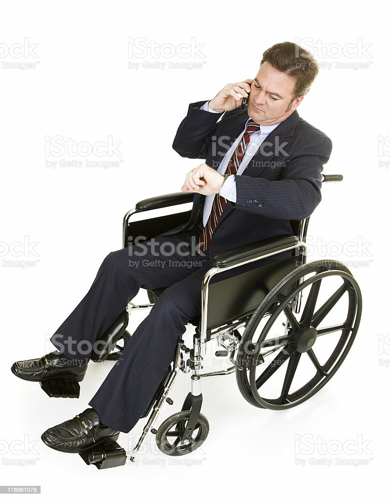 Disabled Businessman Running Late royalty-free stock photo