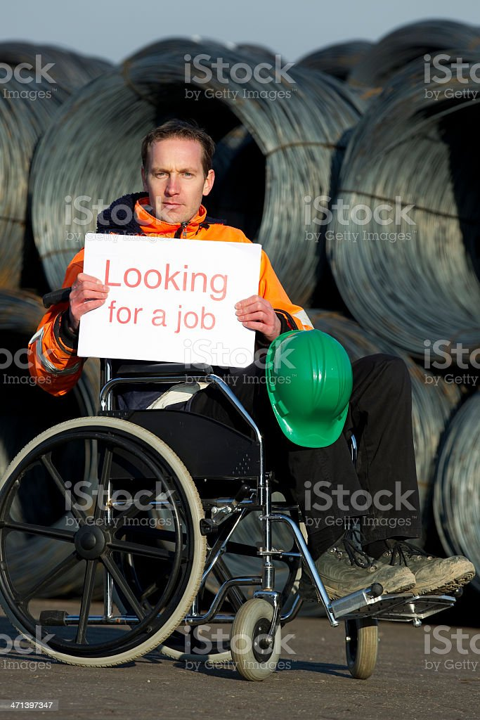Disabled Construction Worker In Need Of Job stock photo