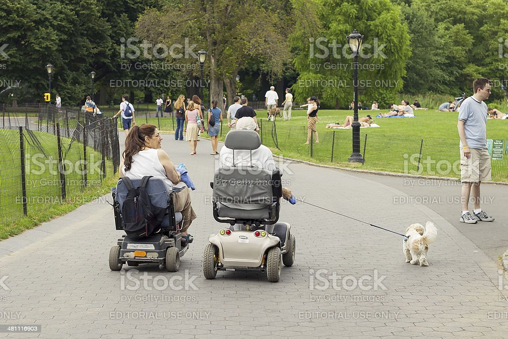Disabled couple walking the dog in Central Park stock photo
