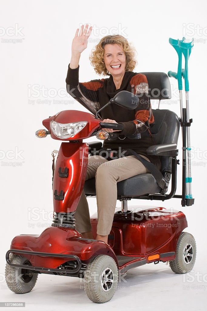 Disabled elderly woman beckons stock photo