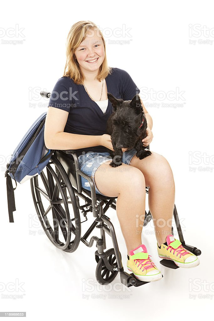 Disabled Girl with Scotty Dog royalty-free stock photo