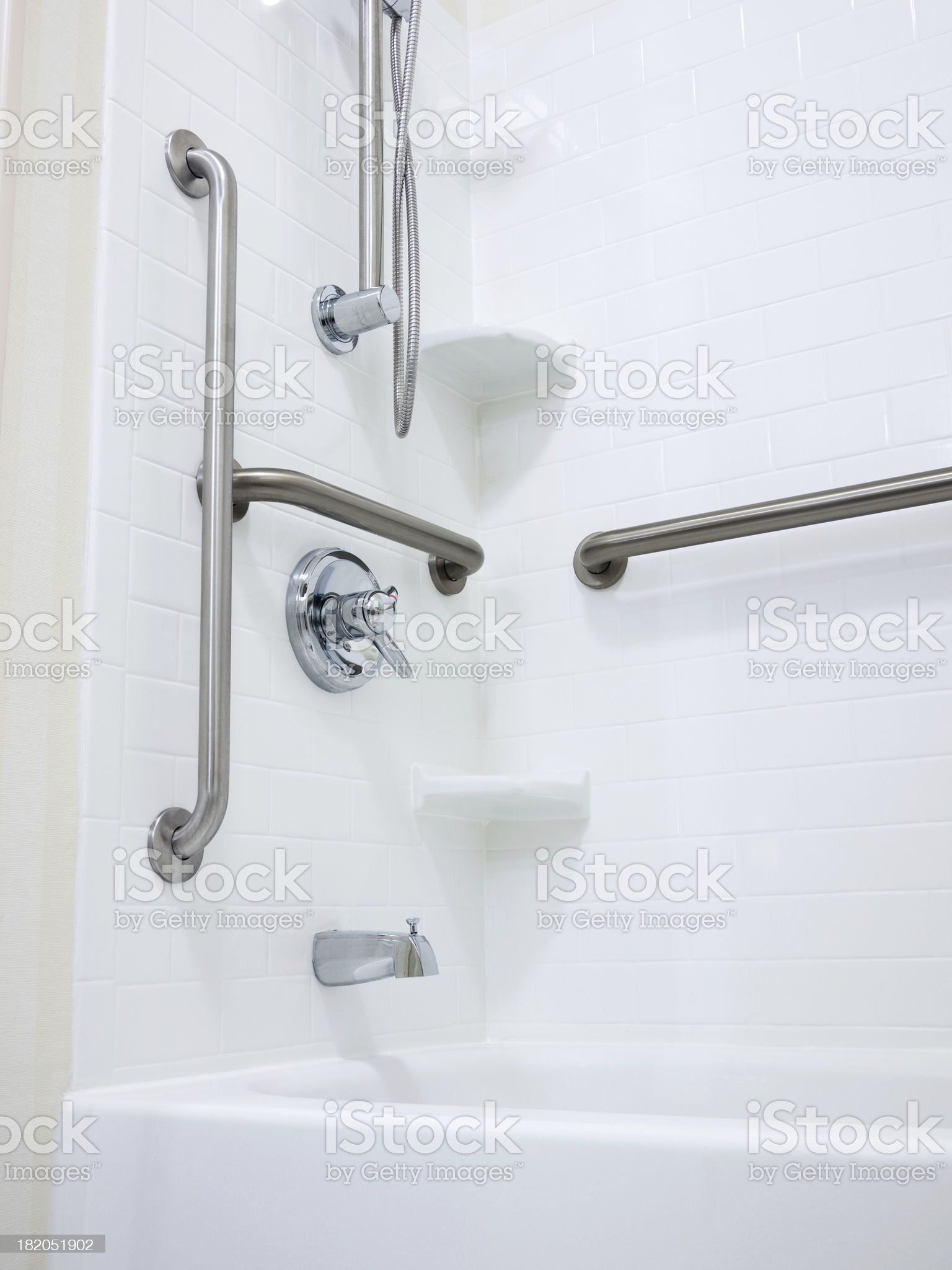 Disabled Handicapped Shower with Grab Bars royalty-free stock photo