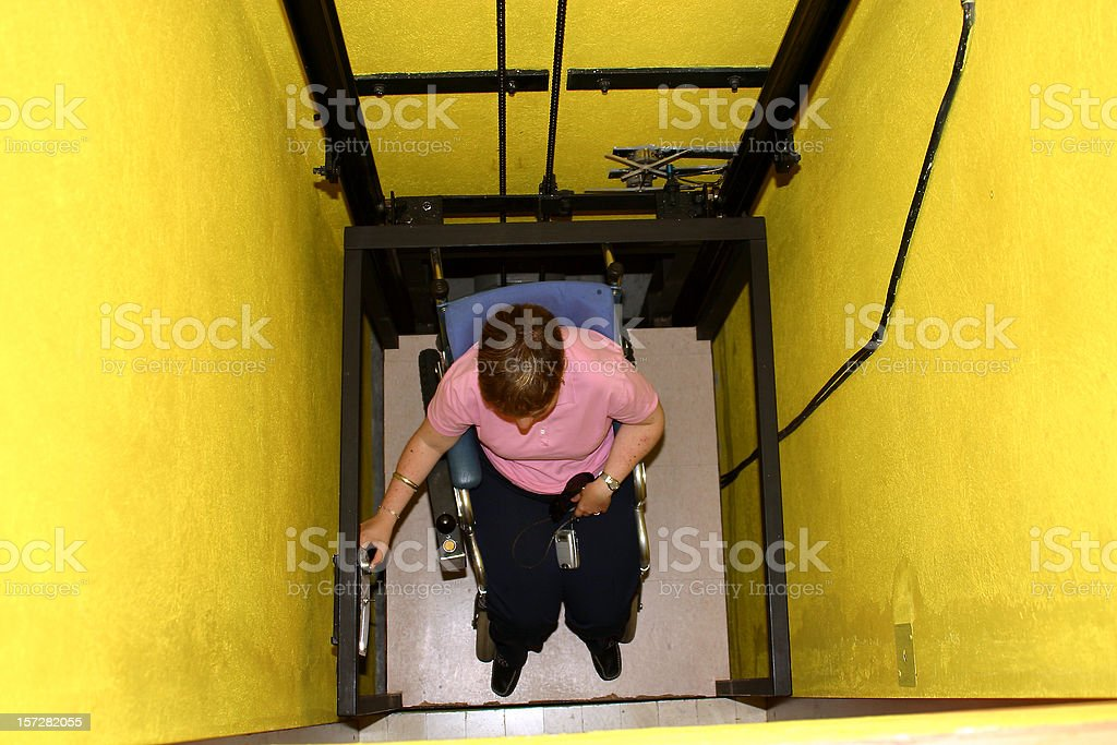 disabled inside elevator royalty-free stock photo