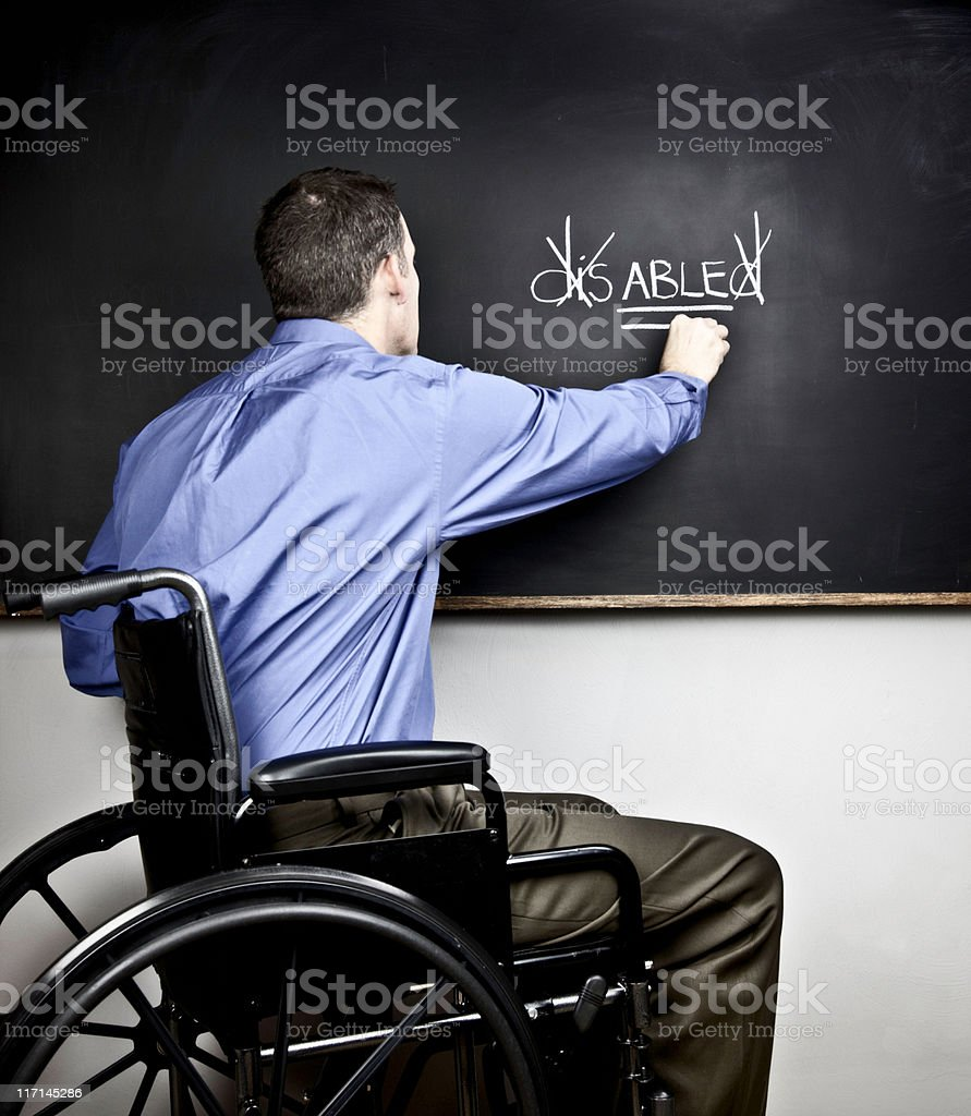 Disabled Man Challenging Adversity royalty-free stock photo